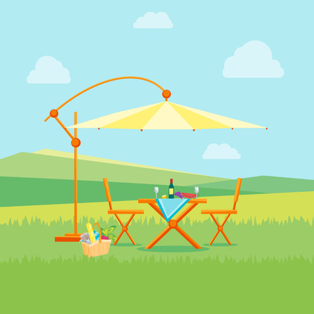 Summer Picnic in Nature Flat Design Style. Table, Chairs and Umbrella. Outdoor Recreation. Vector illustration
