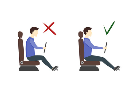 incorrect: Correct and Incorrect Driving Position Flat Design Style Set. View Of The Driver Of The Car In Profile. Vector illustration