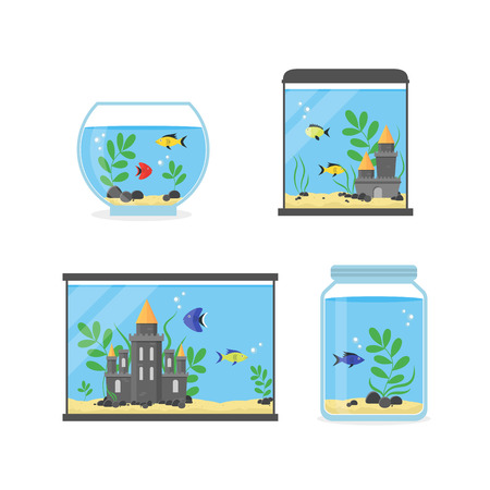 Glass Aquarium Set for Interior Home. Equipment Hobby Flat Design Style. 向量圖像