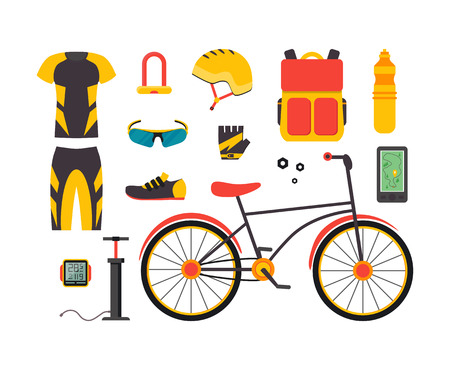 Bicycle and Accessories Set. Sportive Lifestyle. Flat Design Style.