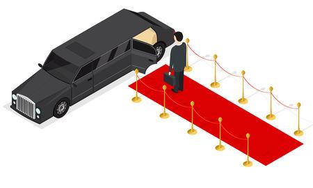 Black Limousine en Red Carpet isometrisch aanzicht. Luxe auto.