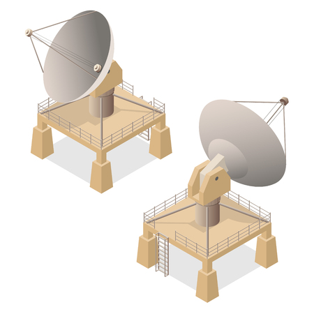 Satellite Dish Antenna or Radar Isometric View for Transmit and Reception Data. Illustration