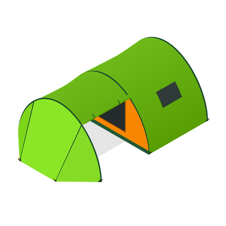 nylon: Green Camping Tent with Opened Entrance. Tourist Camp.