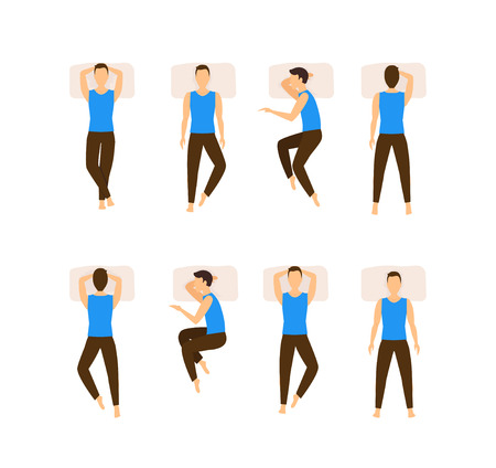 Different Sleeping Poses Set. Top View Man. Flat Design Style. Vectores
