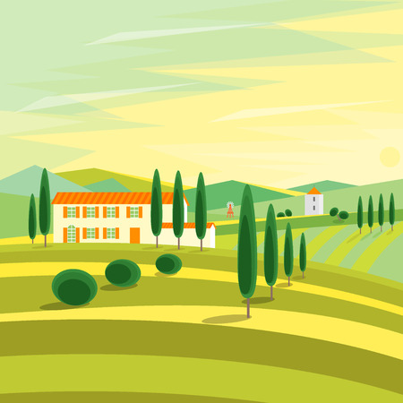 tuscan: Tuscany Rural Landscape with Houses. Flat Design Style.