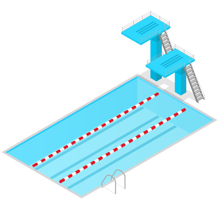springboard: Swimming Pool Isometric View Indoors. Sport Springboard for Competition illustration Foto de archivo