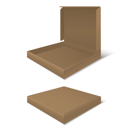 Template Blank Cardboard Pizza Boxes. Empty Package.
