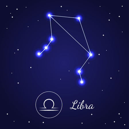 cosmo: Libra Zodiac Sign Stars on the Cosmic Sky. Illustration