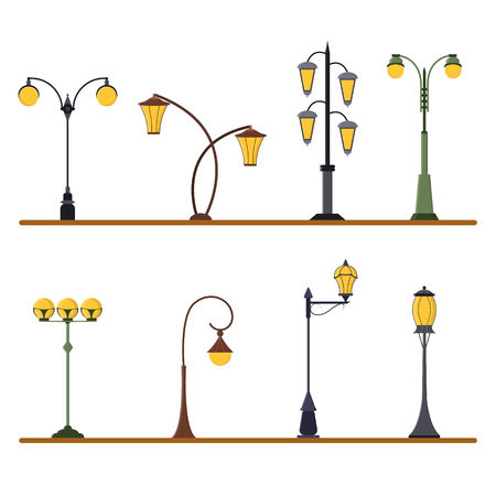 가로등 게시물 집합입니다. 도시의 빛의 장대. 플랫 디자인 스타일.