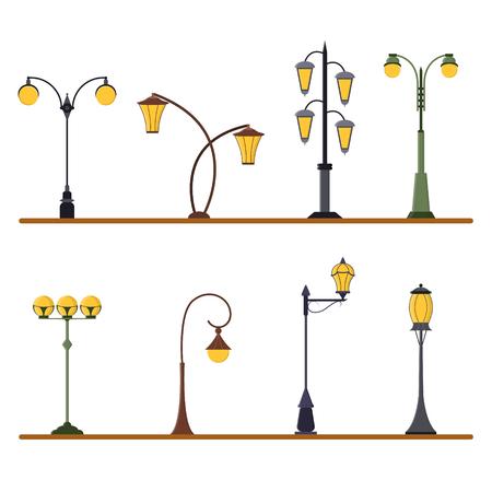 lamp post: Street Lamp Post Set. Urban Light Pole. Flat Design Style.