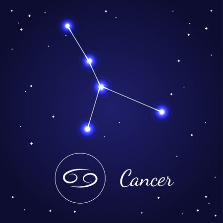 cosmo: C ancer Zodiac Sign Stars on the Cosmic Sky. Illustration