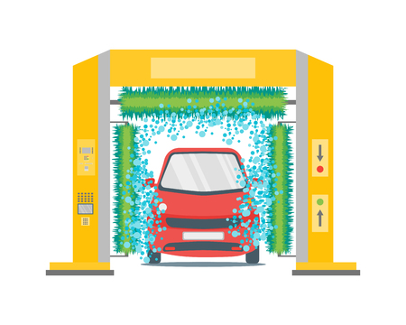operated: Car Wash Service Station Automatic Washing. Flat Design Style. Illustration