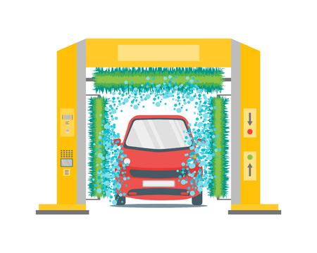 Car Wash Service Station Automatic Washing. Flat Design Style. Illustration