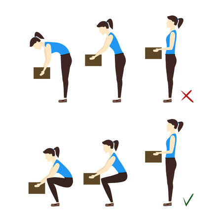 instruction: Lifting Box Correct and Incorrect Position. Poster with the Instruction. Flat Design Style.