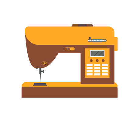 textile industry: Electric Sewing Machine for Home and Factory. Flat Design Style. Illustration