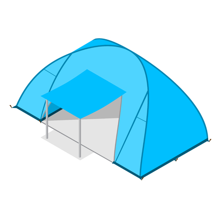 Blue Camping Tent Modern Family. Tourist Camp.