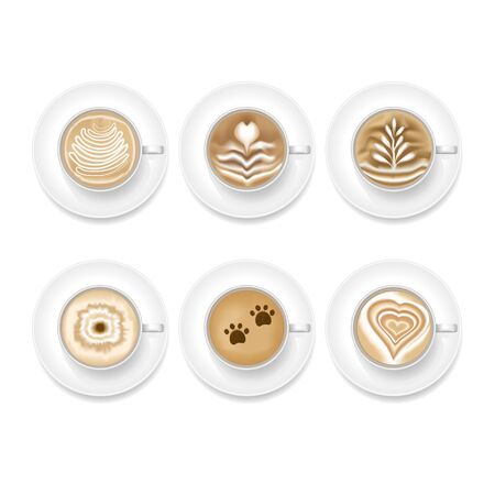 Realistic Coffee Art Foam Set. Top View illustration Vektorové ilustrace