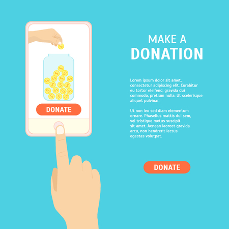 Donation Money by Online Concept. Flat Design Style.  illustration Illustration