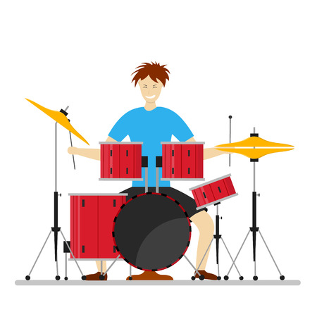 jazz drums: Drum Player Man for Concerts, Parties, Clubs. Flat Design Style.  illustration Illustration