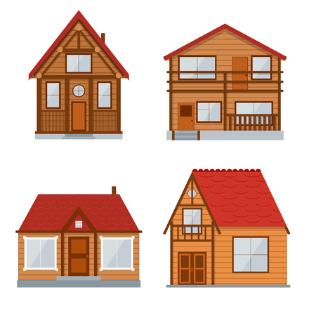 Wooden Country House or Home Set. Traditional Eco Building.  illustration 矢量图像