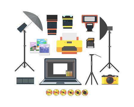 Professional Photographer Equipment Set. Photo Tool. Flat Design Style.  illustration