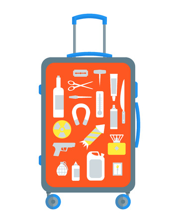 Restricted Items Set in the Suitcase Flat Design Style.  illustration