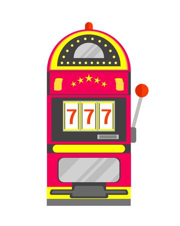 Slot Machine with One Arm Gambling. Casino Symbol. Flat Design Style.  illustration