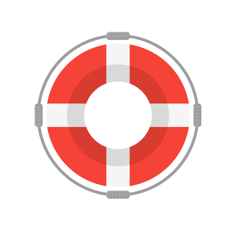 Life Buoy with Rope On White Background. Flat Design Style  illustration Illustration