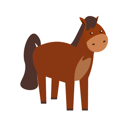 foal: Cartoon Brown Standing Horse or Pony. Flat Design Style.  illustration Illustration