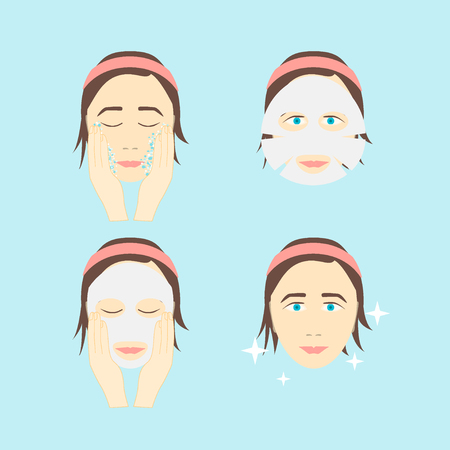instruction sheet: Facial Sheet Mask Step by Step. Poster with the Instruction Manual. Vector illustration Stock Photo