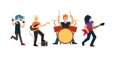 Cartoon Rock Band Musicians and Singer. Flat Design Style Vector illustration