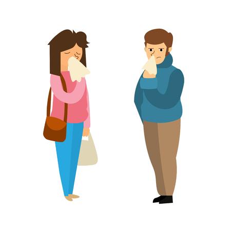 symptom: Cartoon Sick Man and Woman. People with Symptom Flu Flat Design Style. Vector illustration