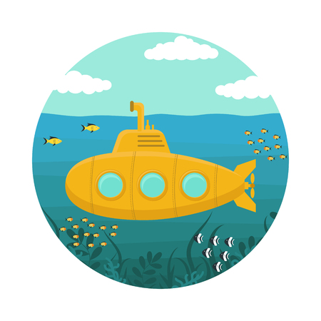 Yellow Submarine underwater with Periscope. Flat Design Style. Vector illustration