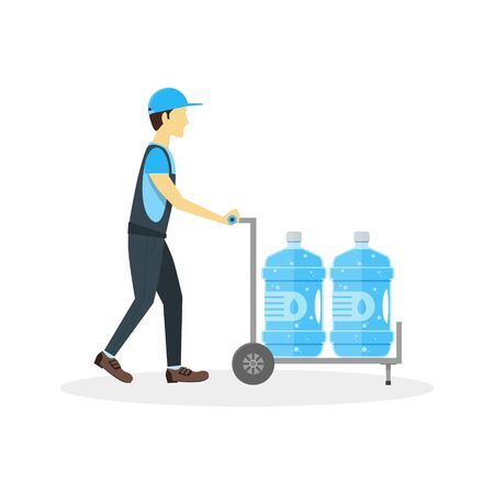 delivery boy: Water Delivery Boy or Man. Plastic Bottles in Cart. Flat Design Style Vector illustration