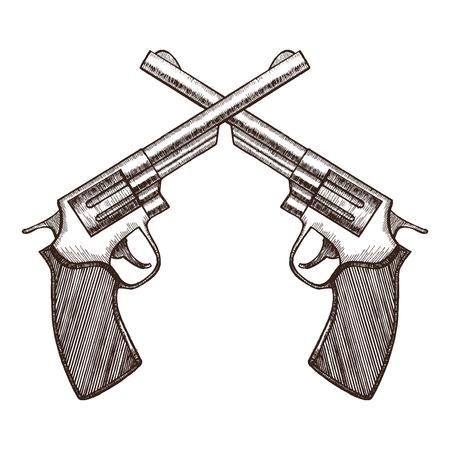gun control: Crossed Pistols Hand Draw Sketch Revolver Gun Duel. Vector illustration