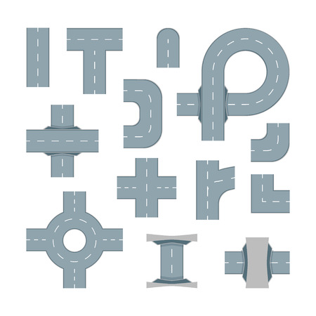 Road Map Design Element Set. Top View Position. Highway Parts. Vector illustration