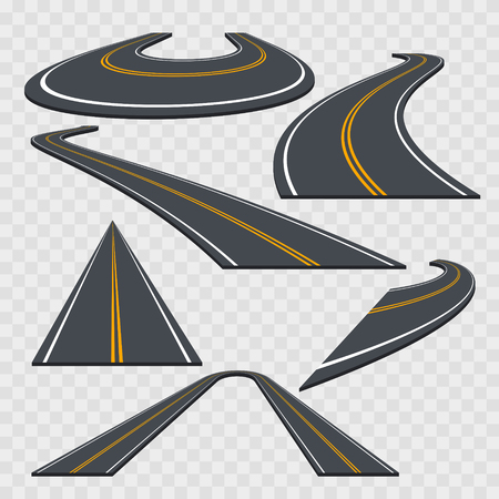 Different Perspective Curved Road Set on a Transparent Background. Vector illustration