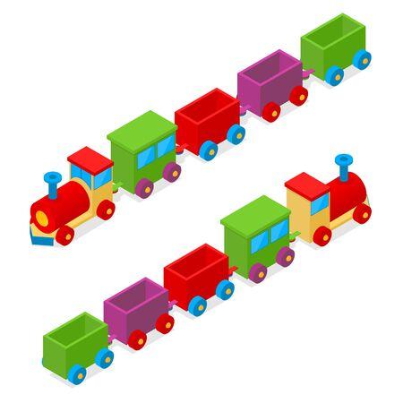Transportation Colorful Train Toy Isometric View. Locomotive Cargo. Vector illustration