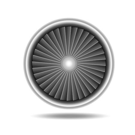 turbine engine: Jet Engine Turbine. Detailed on Airplane Motor Front View. Vector illustration