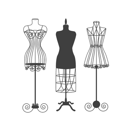 dummies: Vintage Mannequin or Dummies Black Silhouette For Sewing Women Fashion Clothes Flat Design Style. Vector illustration Illustration