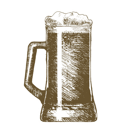 Full Beer Mug Hand Draw Sketch for Bars and Pubs. Vector illustration
