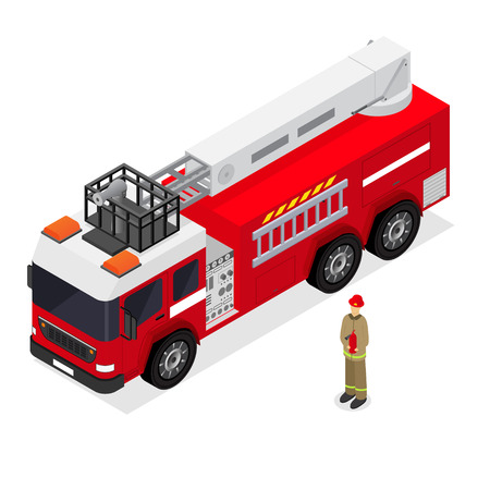 Red Fire Engine and Firefighter in Uniform Isometric View. Emergency Transport Auto. Vector illustration Illustration