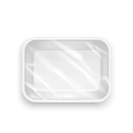 rectangular: Template Blank White Plastic Food Container. Realistic Empty Mock Up Vector illustration Illustration