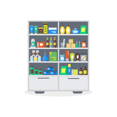 drugstore: Pharmacy Showcase or Shop Shelves. Storage and Sale of Drugs, Tablets Pills Bottles Flat Design Style. Vector illustration Illustration