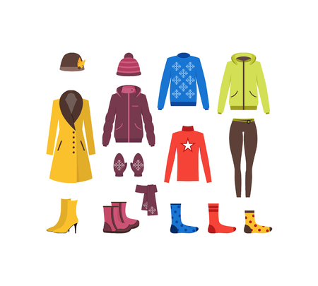 winter hat: Winter Clothing Woman Set Fashion Seasonal Shopping Flat Design Style. Vector illustration