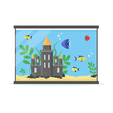 sand trap: Glass Aquarium with Decoration, Stones and Plants for Interior Home. Equipment Hobby Flat Design Style. Vector illustration Illustration