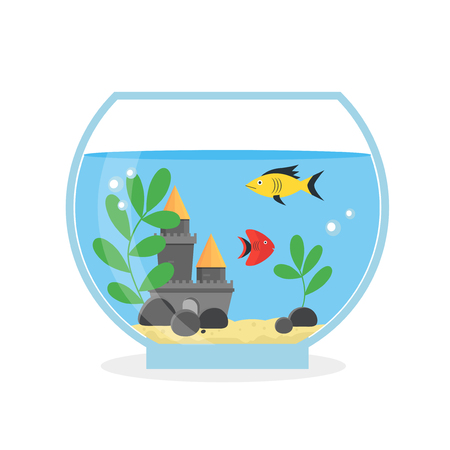 Round Glass Aquarium for Interior Home. Equipment Hobby Flat Design Style. Vector illustration Illustration