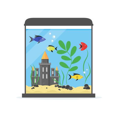 castle interior: Glass Aquarium with Castle for Interior Home. Equipment Hobby Flat Design Style. Vector illustration Illustration