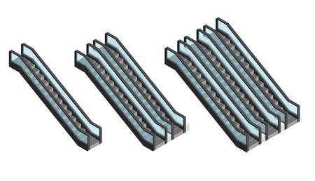 bajando escaleras: Escalera mecánica Conjunto visión isométrica. Pasajeros que suben y que va abajo. Escaleras para lugares públicos. ilustración vectorial Vectores