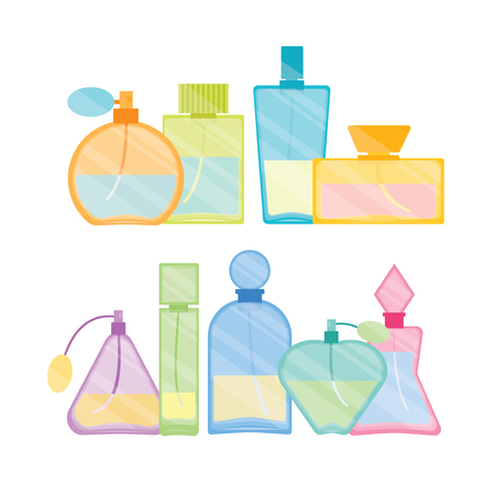 Vintage Male and Female Perfume Glass Bottle Color Line Set. Fashion Design. Vector illustration